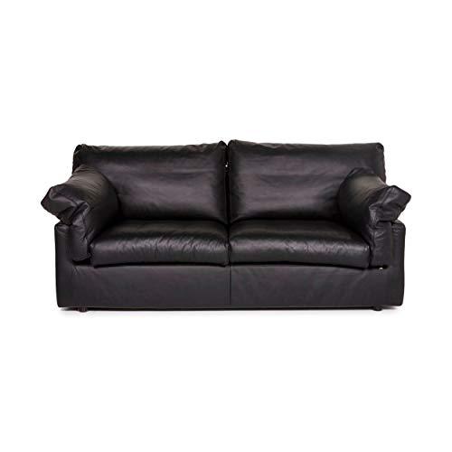 WK Wohnen Leder Sofa Schwarz Zweisitzer Couch #12290