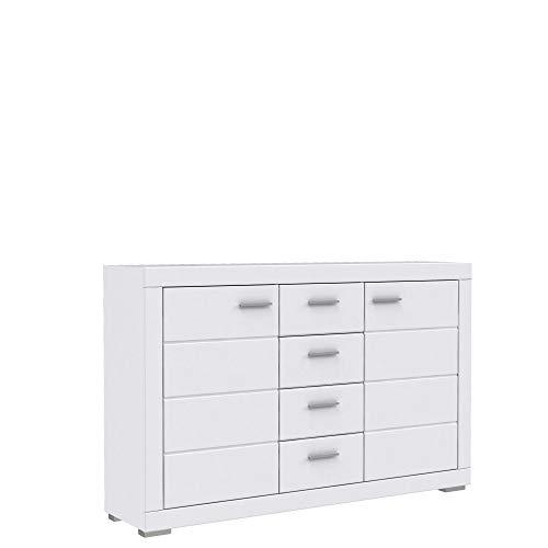 FORTE Snow Sideboard mit 2 Türen, 4 Schubkästen, Holz, weiß matt, 170.7 x 41.4 x 108.8 cm