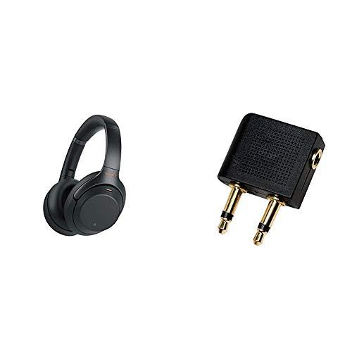 Sony WH-1000XM3 kabellose Bluetooth Noise Cancelling Kopfhörer (30h Akku) Schwarz & LogiLink CA1089 Audio Adapter für den Flugzeugsitz-Audioanschluss