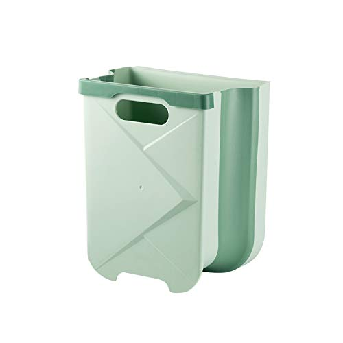 XVXFZEG Montado en la pared del bote de basura, gabinete de cocina Tipo de puerta retráctil grande bote de basura, PP Verde Material colgantes de basura Caja de almacenamiento, sala de estar y oficina
