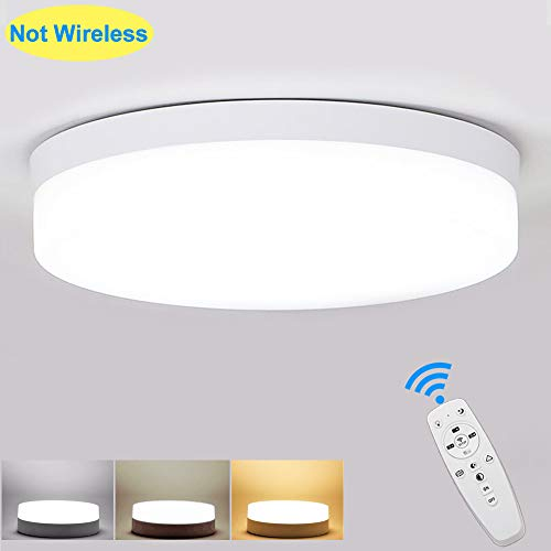 DLLT 24W Round Led Surface Flush Mount Ceiling Light, Dimmable(2000K-6000K), Remote Control, Flat Light Fixture (1920lm) for Dining Room, Bed Room, Kitchen