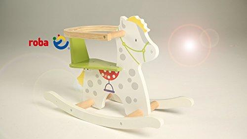 roba Schaukelpferd 'kleiner Racker', Schaukeltier mit Soundeffekt aus Holz mit Bedruckung, Schaukelsitz mit abnehmbarem Schutzring, Schaukelspielzeug ab 12 Monate - 6