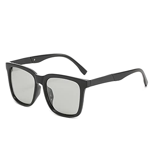 Gosunfly Gafas de sol que cambian de color para mujer, gafas de sol polarizadas para hombre, moda retro, marco dorado, negro, gris