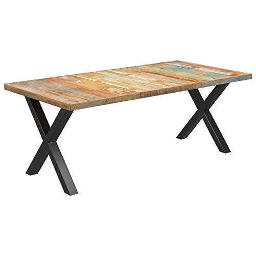 vidaXL Tavolo da Pranzo con Gambe a X Mensa Tavola Cucina Arredo Mobile Tavolino Tavolinetto Soggiorno Bar Ristorante Legno di Recupero 200x100x77cm