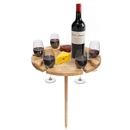 SonaVee Bamboo Portable Beach Table for Sand and Grass - Outdoor Wine Table Set with Utensils and Wine Bottle Opener - Wine Picnic Table and Cheese Board - Beach Snack Table Cheeseboard Gift Set