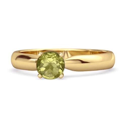 Shine Jewel Multi Elige tu Solitario de Piedras Preciosas Anillo de Plata de Ley 925 Chapado en Oro Amarillo de 0,25 Quilates de Corte Redondo (12, Peridoto)
