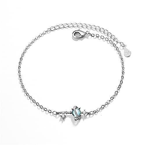 laoonl Pulsera de oro blanco, con planeta de fantasía de color azul, diseñada para mujeres, regalo de pulsera para mamá, mujeres, San Valentín, día de la madre