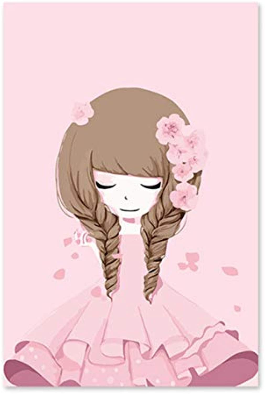 WGXCC Rosa Cartoon Mädchen Blaumenmädchen Sakura Prinzessin Kleid Mädchen DIY DIY DIY Digital Ölgemälde durch Zahlen Zeichnung handgemalte Bildwand ohne Rahmen 40x50cm B07HMXS47B | Günstige  afbda6