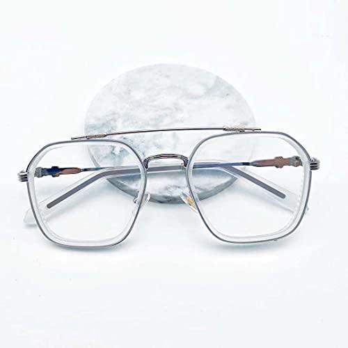 YUEXINHU Gafas Decorativas, Gafas De Sol Clásicas, Marcos De Metal Gafas Retro Lentes Azules Gris