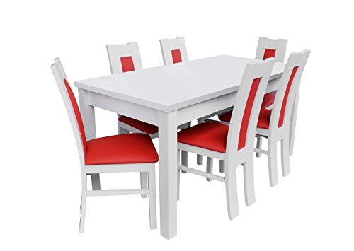 Mirjan24 Esstisch Stuhl Set RB17 Essgruppe, Tischgruppe, Sitzgruppe Esstischgruppe, Esszimmergarnitur (Weiß, Soft 010)