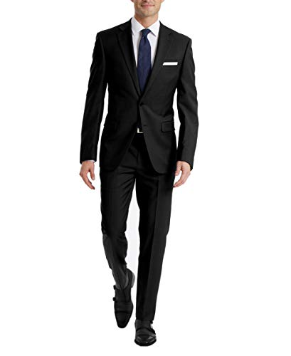 YND Men's Slim Fit 2 Button 3 Piece Suit Set, Blazer Jacket Vest Pants and Tie, Solid Wedding Dress Tux and Trousers Deep Blue