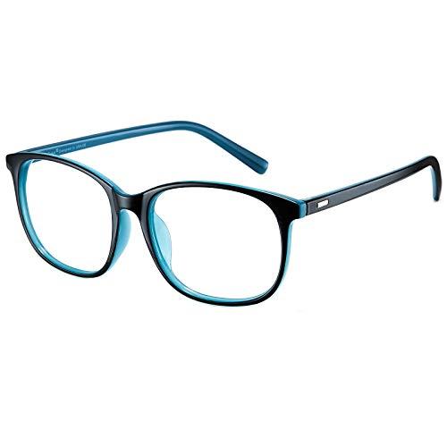 Cyxus Filtro de Luz Azul Gafas de Computadora Anti Fatiga de Ojos Lentes Transparentes para Hombres y Mujeres Bloqueo UV (Azul y Negro...