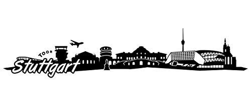 Samunshi® Stuttgart Skyline Wandtattoo Sticker Aufkleber Wandaufkleber City Gedruckt Stuttgart 120x25cm schwarz