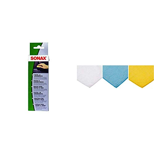 SONAX Textil- & LederBürste (1 Stück) zur Trocken- und Feuchtreinigung von Textilien sowie zur schonenden Reinigung von Glattleder-Oberflächen | Art-Nr. 04167410