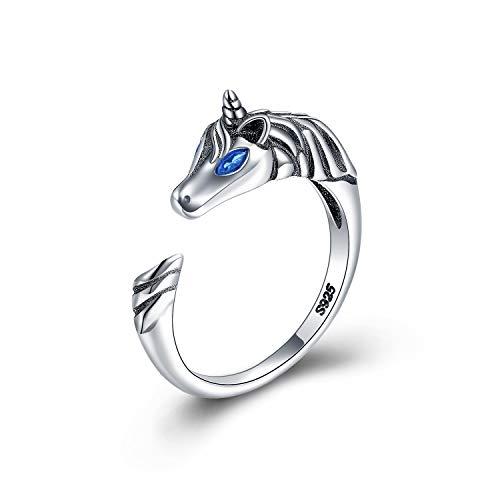 Anillo de Unicornio Plata 925, Anillos Ajustable Joya con Diseño de Unicorn regalitos, Joyero argollas de dedo es uno de los mejores regalos para infantiles niñas, y mujer. Niños Joyas Juguete
