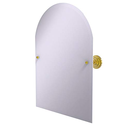 Allied Brass PQN-94 Frameless Arched Top Tilt Beveled Edge Wall Mirror, Polished Brass