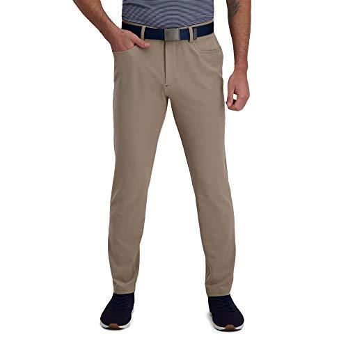 HAGGAR Men's Active Series Slim Fit Flat Front 5-Pocket Tech Pant, Medium Khaki, 36 X 32