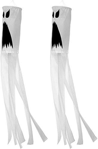 DAGUAI 2 Packs of 40-Inch Halloween Ghost Wind Vane, Halloween Wind Vane Front Yard Patio Lawn Garden Party Decoration