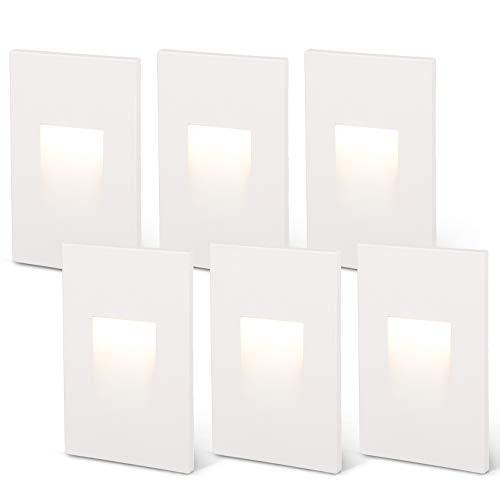 LEONLITE 120V Dimmable LED Step Light, 3.5W 3000K Warm White, 110lm High CRI 90, ETL Listed Indoor Outdoor Stair Light, Aluminum Waterproof Staircase Light, 5-Year Warranty, White, Pack of 6