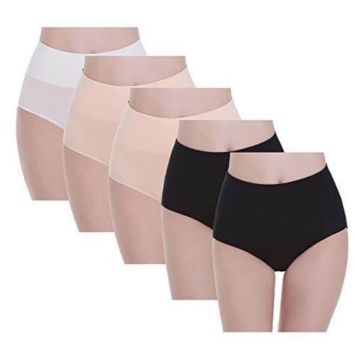 YouShow Mutande Donna Cotone Vita Alta Pacco da 5 Elastiche Pantaloncini Post Parto(Albicocca alla Moda,S)