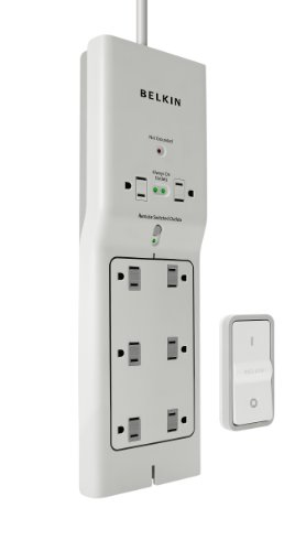Belkin 8-Outlet Conserve Switch Surge Protector, 4ft Cord and Remote, White
