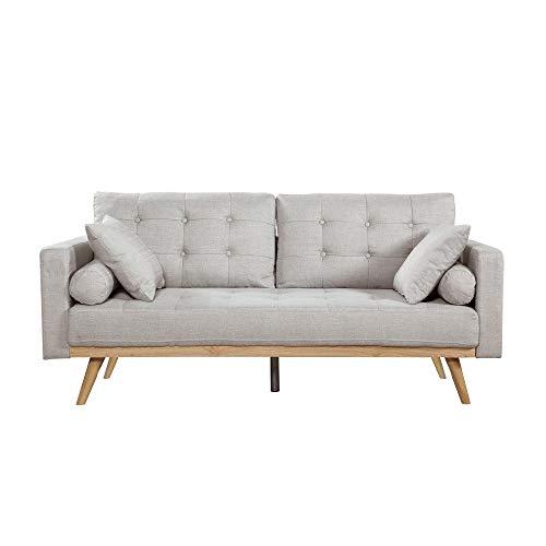 Casa Andrea Milano llc Mid Century Modern Tufted Upholstered Fabric Sofa Couch, Light Grey