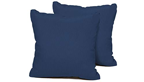 TK Classics Set of 2 Outdoor Square Throw Pillows, Navy