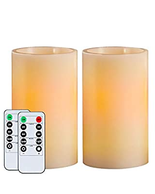 Homemory Flameless Candles Battery Operated LED Pillar, Wax Flickering Unscented Candles with Timer and 10-Key Remote, for Gifts and Decoration