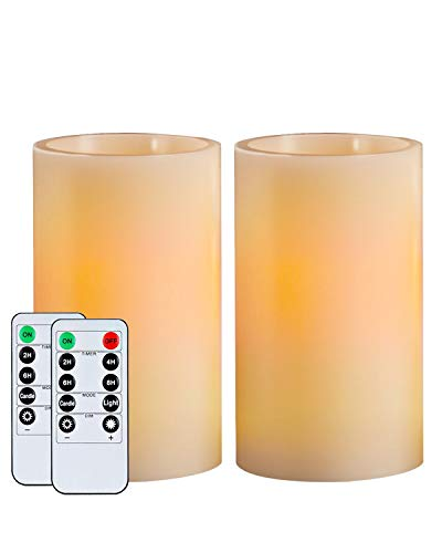 Homemory 5' Wax Flameless Candles, Battery Operated LED Pillar Candles with Remote Control & Timer, Amber Yellow Flickering Light for Party, Wedding, Festival (Set of 2, Ivory), Indoor Only