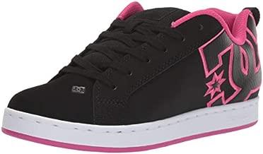 DC Women's Court Graffik Skate Shoe, Black/Pink Stencil, 6 M US