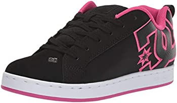 DC womens Court Graffik Skate Shoe Black/Pink Stencil 8 US