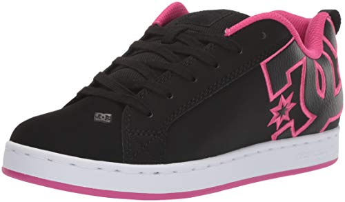 DC womens Court Graffik Skate Shoe, Black/Pink Stencil, 9 US