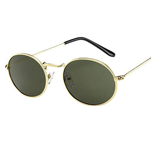 Sonnenbrille Polarisiert für Damen/Dorical Retro Oval Metallrahmen Bonbonfarben Unisex Klein Brille mit UV-400 Schutz Vintage Outdoor Brille Super Coole Frauen Sunglasses Travel Eyewear(E)