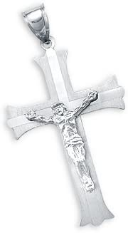 Sonia Jewels 14k White Gold specialty shop Jesus Crucifix Charm Pendant Ranking TOP3 Cross S