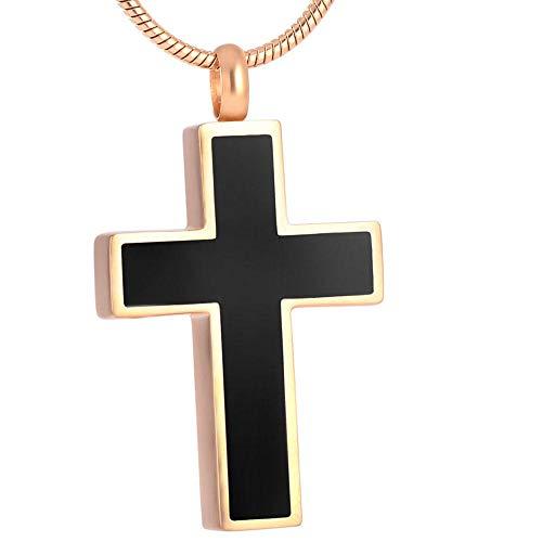 KBFDWEC Collar de urna de cremación de Acero Inoxidable Colgante conmemorativo de Cruz Dorada con Kit de Relleno