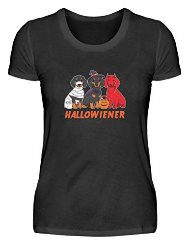 Camiseta para mujer de Halloween Dachshund – Camiseta de fiesta divertida con frases divertidas, eslogan de terror, calabaza, bruja, monstruo, terror, fantasma, zombie Negro S
