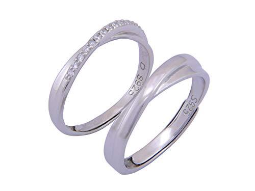Nature Rebel Paar Ringe Verlobungsringe Eheringe Set 925 Silber offen größenverstellbar mit Schmuckbox