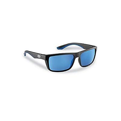 Flying Fisherman Streamer Polarized Sunglasses with AcuTint UV Blocker for Fishing and Outdoor Sports, Matte Black Frames/Smoke-Blue Mirror Lenses