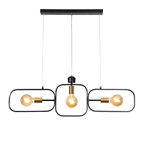 ZHANG Vintage Industrie Pendelleuchte Hängelampe Leuchte for Kücheninsel Esstisch Bar Büro Studie Kronleuchter Retro Schwarz Eisen Geometrisches Design Schatten Pendelleuchte Höhenverstellbar L95CM