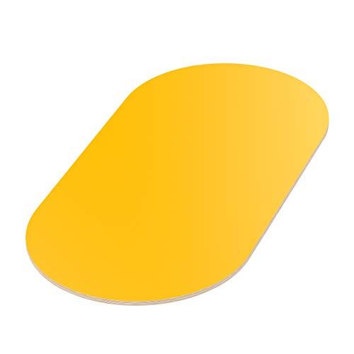 AUPROTEC Tischplatte 18mm gelb 700 mm x 500 mm ovale Multiplexplatte melaminbeschichtet von 40cm-200cm auswählbar Birken-Sperrholzplatten Massiv Holz Industriequalität Auswahl: 70x50 cm