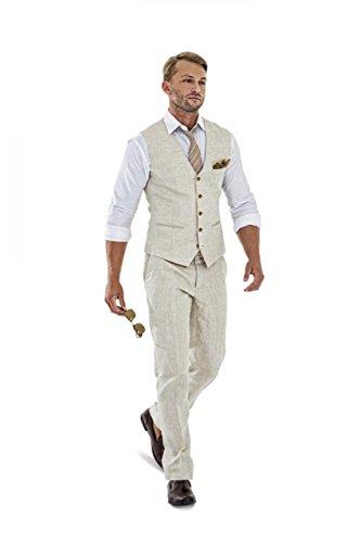 Casual Linen Beige Men's 2 Piece Suits Wedding Suits Slim Fit Groomsmen Tuxedos Prom Blazer Custom Summer Linen Vest+Pant be-XL/4438