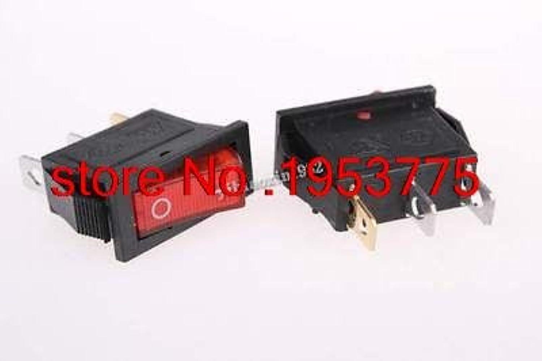 100pcs Red Light ON Off SPST Snap in Boat Rocker Switch 3Pin 15A 250V 20A 125V