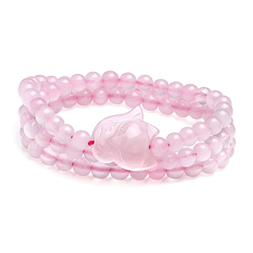 CrystalTears 6mm Kugelstein Yoga Armband Edelstein Fuchs Wickelarmband Gebetskette Healing Reiki Stein Stretcharmband Halskette (Pink Rosenquarz)