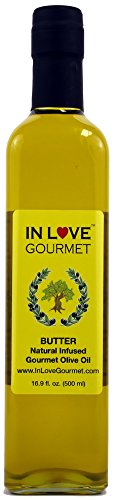 In Love Gourmet Extra Virgin Olive Oil Butter Natural Flavor Infused Gourmet Olive Oil 500ML/16.9oz Awesome Buttery Flavored Extra Virgin Olive Oil.