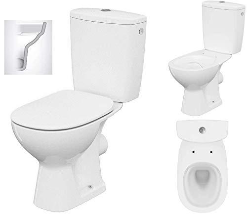 VBChome Keramik Stand- WC Spülrandlos Toilette Komplett Design Set mit Spülkasten WC- Sitz aus Polypropylen mit Absenkautomatik SoftClose-Funktion für waagerechten Abgang Wasseranschluss