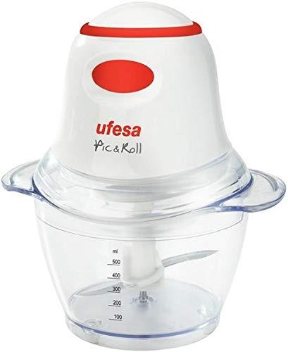 Ufesa PD5325 pic & roll - Picadora, 400W, 0.5l Capacidad, Cuchillas con cubierta de protección, Pica todo tipo de alimentos, Prepara salsas, Accesorios emulsionador, Interruptor instantáneo