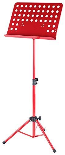 Classic Cantabile Metall Orchesterpult Lochblech - Stabiler Notenständer mit Lochblechauflage - Höhenverstellbar von 58 bis 100cm - Notenpult mit Extra breite 50 cm Auflage - Rot