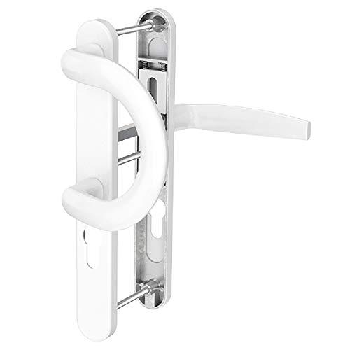 Schmalrahmengarnitur Schutzbeschlag Schildgarnitur Wechselgarnitur 8 / 92mm (Bügel/Drücker, Weiß - RAL 9016)