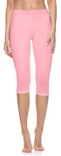 Merry Style Damen 3/4 Leggings aus Baumwolle MS10-199 (Rosa, 3XL)