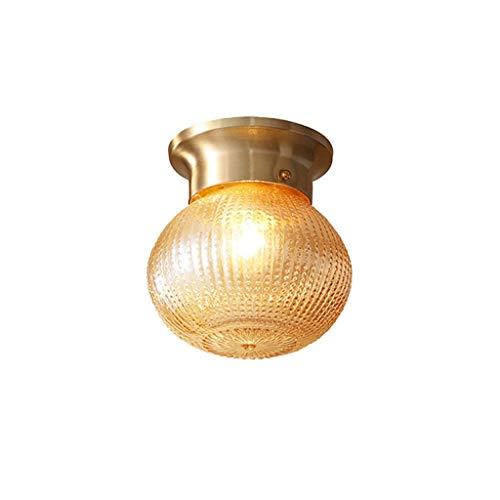 Sunmong Plafoniere a LED in Rame Americano Cucina Corridoio Balcone Portico Plafoniere Moderne semplici con Paralume in Vetro Plafond Lampada Luminaria, E271 (Size : A)
